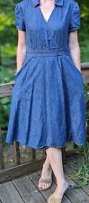 Talbots Women's Blue V-Neck Faux Wrap Denim Dress Short Sleeve Sz 6 Pockets