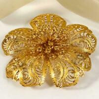 Huge Vintage Signed Monet Gold Tone Filigree Flower Floral Brooch Pin 20s1