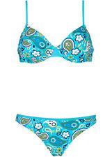 Bikini Set mit Bügel türkis weiß Cup B oder D 36 38 40 42 44 46 48  2tlg neu 530