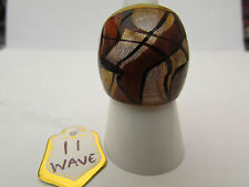 Glass Ring. Uk Size N.Us 6.5 (11) A Silver & Deep Amber Ribbon Murano Style