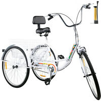 Foldable Tricycle Adult 24'' Wheels Adult Tricycle 1-Speed 3 Wheel White Bikes