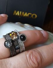 MIMCO~DESIGN~THREE RING SET~3 COLOUR STONES~SILVER & BLACK TONE FINISH ~SIZE L