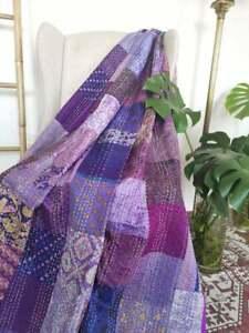 Indian Silk Patola Kantha Quilt Handmade silk Bedspread Throw Patchwork Gudri