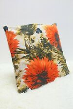 """Original Retro Fabric Cushion Cover 70s/80s 16x16"""" Floral Vintage Red"""