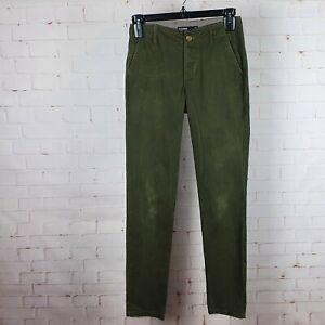 Dangerfield Men's Olive Green Skinny Straight Leg Pants Trousers Size 28 Casual