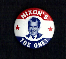 "1968 Richard Nixon 1-1/8""/ ""Nixons the One"" Presidential Campaign Button(Pin 01)"
