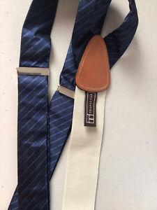 Trafalgar Navy Blue Stripes Suspenders Braces Made In England