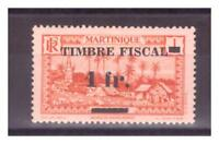 MARTINIQUE  . N° 133 . 1 c    SURCHARGE 1 Fr  TIMBRE FISCAL   NEUF  * . SUPERBE.