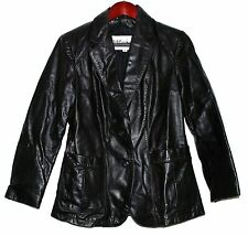 Vintage Wilsons Leather Black Fitted Womens Button Jacket Taffeta Lining Sz 10