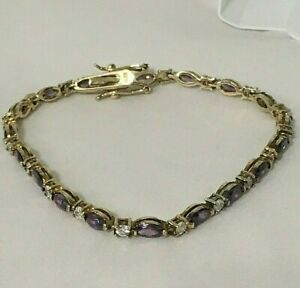 AMETHYST Cubic Zirconia GEMSTONE BRACELET GOLD over STERLING SILVER NEW IN BOX!