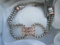 New August Woods Rose Gold Silver Tone Metal Clear Rhinestone BNWT Bracelet