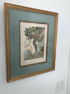 SALVADOR DALI signed lithograph, Wood Cut Engraving, Giant Infereno #31 Signed