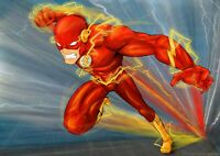 The Flash - Dc Comics Speedster Cartoon Wall Art Large Poster / Canvas Pictures
