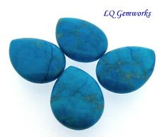 FOUR (4) TURQUOISE HOWLITE 22x30mm Teardrop Pendant Beads