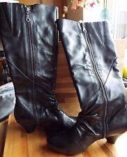 Clarks Ladies softwear Knee High boots kelsea azure black leather black 5d new