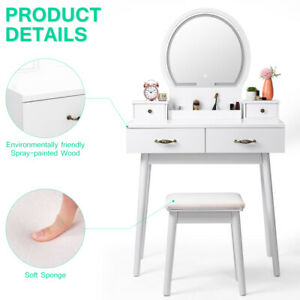 Vanity Makeup Table Set with LED Lighted Mirror Bedroom Dressing Table White