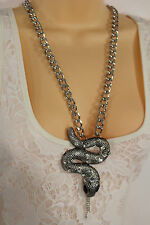Women Fashion Thick Necklace Chains Silver Metal Snake Pendant Charm Rhinestones