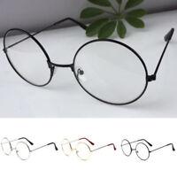 Korean Women Men Large Oversized Metal Frame Clear Lens Round Circle Eye Glasses