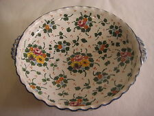 Vintage Italian Hand Painted Floral Ceramics & Pottery Serving Bowl W/ 2 Handles