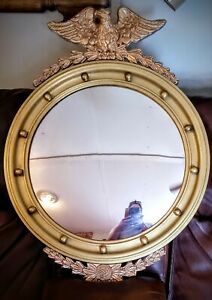 NOYER Antique Gold Giltwood Eagle Frame with Convex Mirror