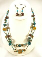 """New 18"""" Necklace Earring Set with Turquiose & Earth Tone Glass Beads #N2389"""