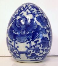 New ListingVintage Chinese Porcelain Blue And White Asian Egg Display