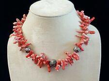 Artisan Necklace Pink Branch Coral Large Ornate .925 Beads Handcrafted USA