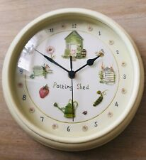 Potting Shed Wall Clock Pale Green Cream Flower Bee Watering Can Strawberry