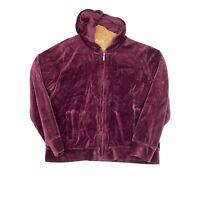 Jones New York Sport Full Zip Up Hooded Velvet Jacket Women's Size 2X Hoodie