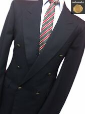 BHS 42 LONG NAVY BLUE DOUBLE BREASTED WOOL BLEND GENTLEMANS BLAZER.