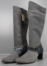 Langschaftstiefel Gr 43 Grau Leder-Stiefel mit Zierschnalle Hydrovelour E2-43