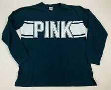 VICTORIA'S SECRET Spellout PINK Graphic L/S Teal WHITE T-Shirt COTTON Sz L