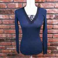 Sandro Paris Blue Ribbed Knit Lace-up Long Sleeve V-neck Top Women's Sz 3 US L