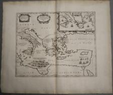ÆNEAS TRAVEL MEDITERRANEAN SEA GREECE ITALY TURKEY 1741 HORN UNUSUAL ANTIQUE MAP