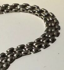 """Vintage Italy 7.25"""" 925 Sterling Silver Panther Chain Bracelet 12.1g"""