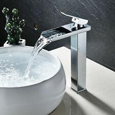 Chrome Waterfall Bathroom Sink Faucet Single Handle Basin Vessel Mixer Tap Tall