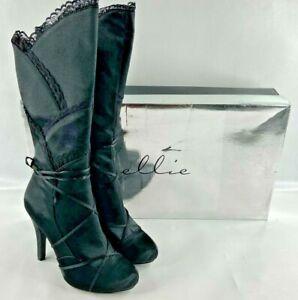 Ellie Women Size 9 Victorian Lace Trim Knee High Heel Boot Shoe Gothika