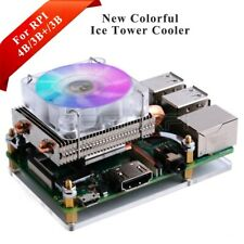 Low-Profile Acrylic ICE Tower Cooling RGB LED Fan kit for Raspberry Pi 4B/3B+/3B