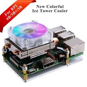 Low-Profile Acrylic ICE Tower Cooling RGB LED Fan kit for Raspberry Pi 4B/3B+/3B