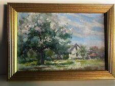 Charming Arthur E. Ward (Me. 1863-1928) Oil On Board Farmhouse Scene