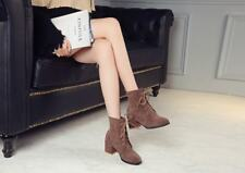 Womens Faux Suede Lace up Mid Block Heels Round Toe Ankle Boots Girls New Boots