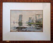 Henry Richard FULLER 1822-1871,américain.Côte rocheuse.Aquarelle.18x26.SBD.Cadre