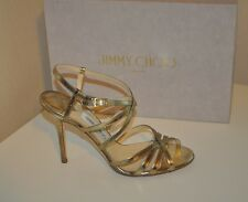 183bd4b11e5 Jimmy Choo Gold Leather Strappy Sandal Heel Shoe Women s 39.5   8.5