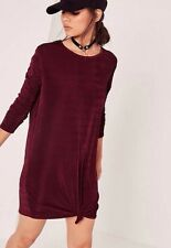 BNWT Missguided Burgundy Knot Front Dress Size 8 Party Night Out Indie Oversize