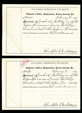 Daylestown PA 1897 Collateral Inheritance Tax Receipts