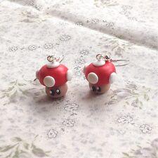 earrings Mario Mushroom Red Funky Kitsch Game Drops Handmade Super Cute