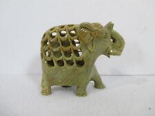 Elephant Carved Figurine Quartz Stone Pregnant Cut-Away to Baby Inside India