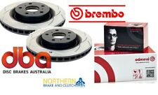 DBA T2 FRONT ROTORS & BREMBO PADS suit SUBARU WRX STi WITH BREMBO FRONT CALIPERS
