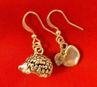 HEDGEHOG EARRINGS Gift Hedgehog +Apple charm  Handmade Cute Gift Made in UK