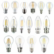 LED FILAMENT BULBS WARM WHITE/DAY LIGHT GLS/CANDLE/GOLF PACK OF 2/4/6/8/10